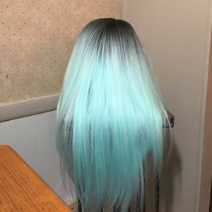 synthetic mint green black long straight wig
